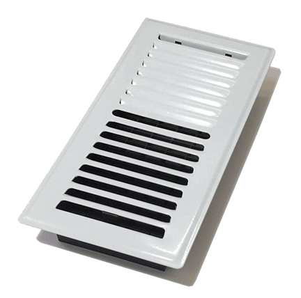 4″x10″ Louvered Plated Floor Register – White Painted