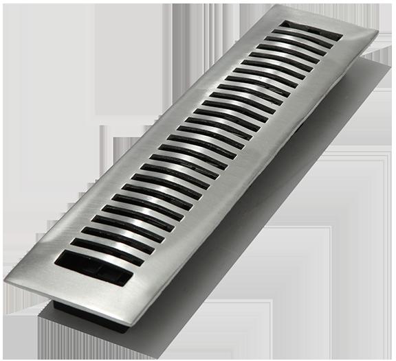2 X14 Contemporary Solid Brass Floor Register Aluminum
